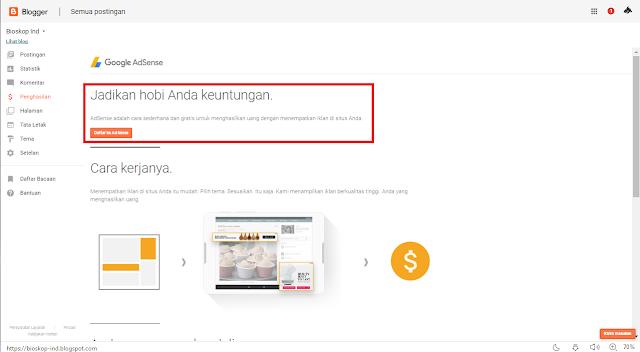 Cara Memnculkan menu penghasilan adsense di blogger