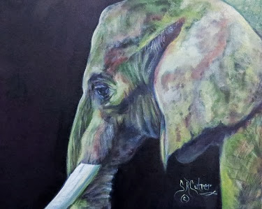 """Bullwagi"" , elephant, portrait, oil painting"