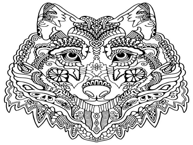 Fox Coloring Pages For Adults Wolf Mandala