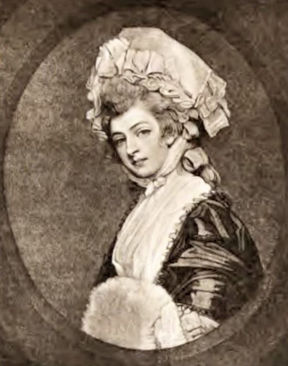 Mary Robinson  from an engraving by Smith after Romney  in Memoirs of Mary Robinson (1895)