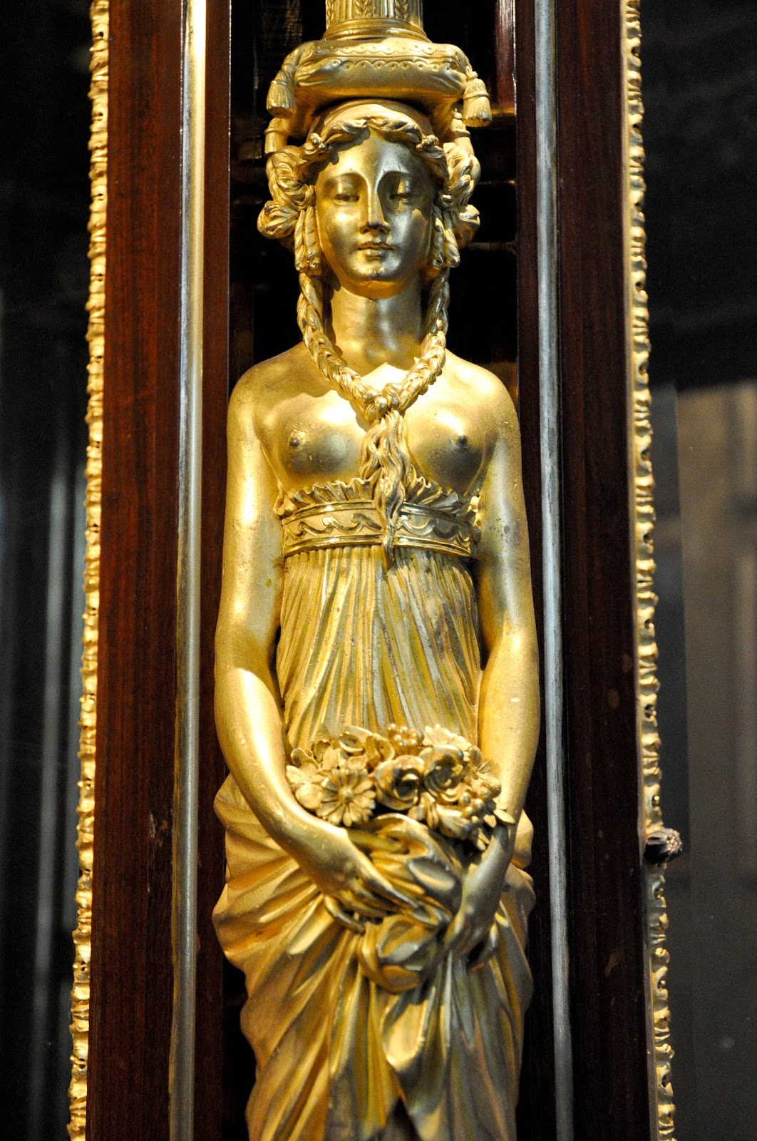 Close-up of the rich ornamentation on a palanquin, First floor, Palazzo Madama, Turin, Italy