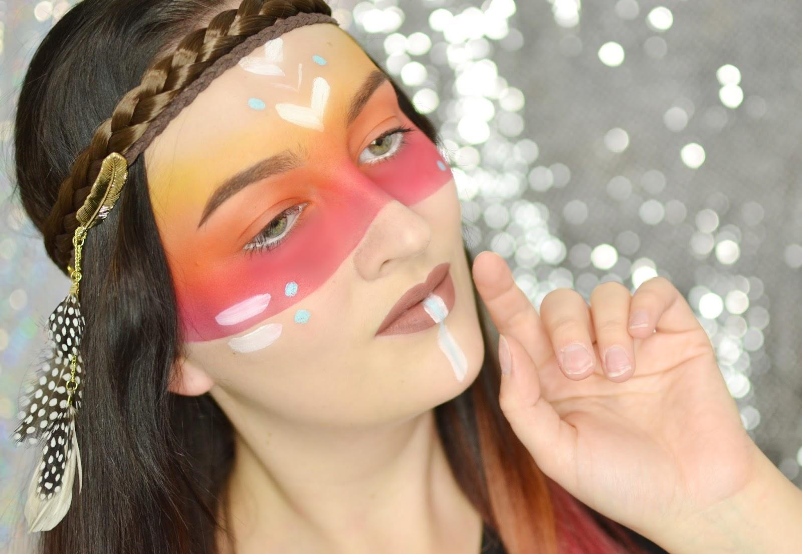 makijaż na halloween charakteryzacja indianka