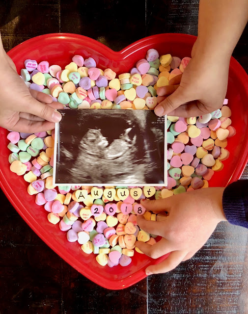 pregnancy announcement with candy hearts, valentines day pregnancy announcement