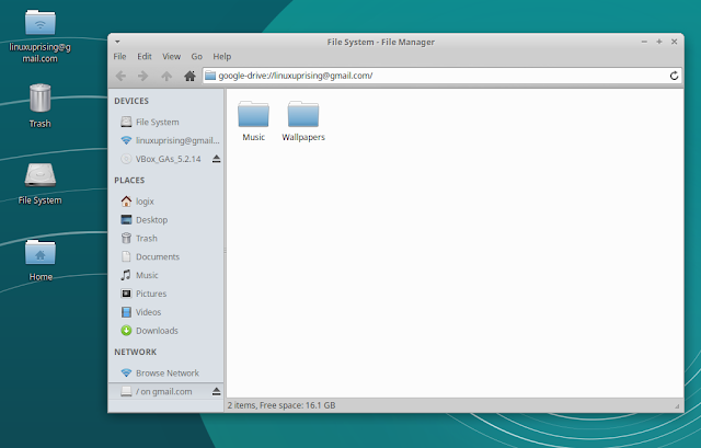 Google Drive mounted in Thunar (default Xfce file manager) using Gnome Online Accounts / Xubuntu 18.04