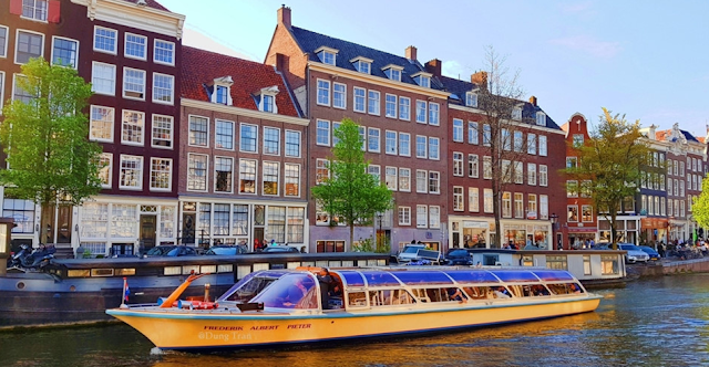 The famous Amsterdam canal system