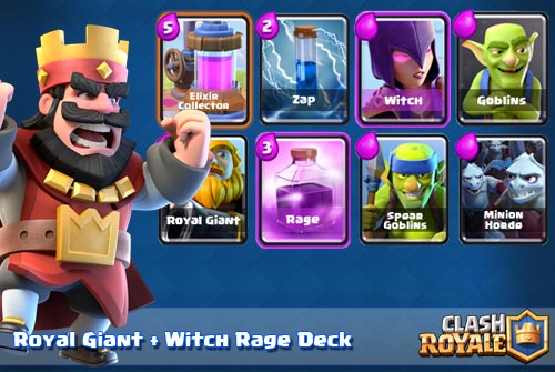 Deck Royal Giant Witch Rage Arena 7 8 Clash Royale