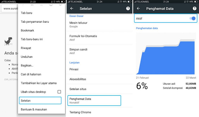 Cara menghemat Kuota di hp android data