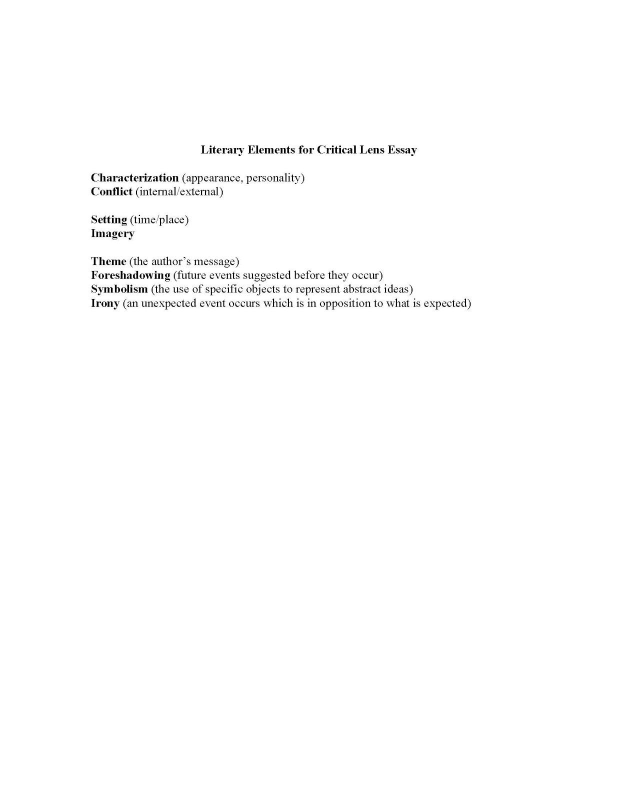 Critical lens essay outline