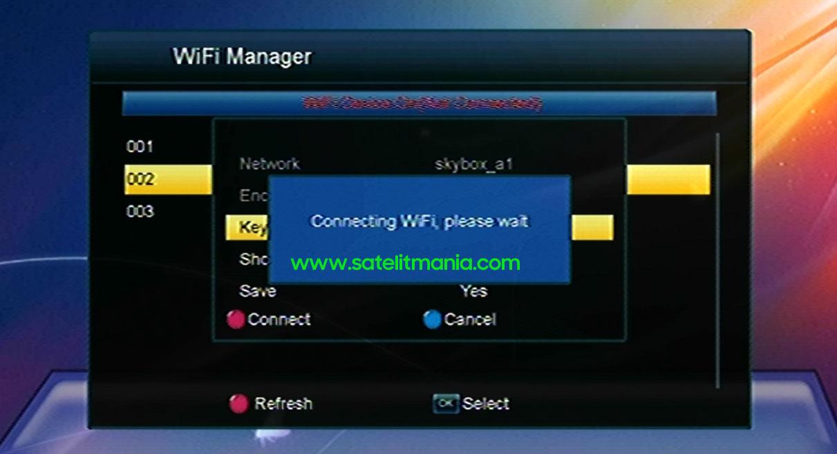 Proses Koneksi Kejaringan WiFi di Receiver Skybox A1