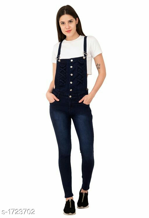 Stylish Dobby Denim Solid Jumpsuit