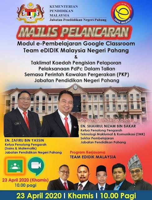 JPN Pahang membuka ruang seluas-luasnya untuk guru-guru di negeri pahang menguasai Google Classroom. Tahniah!