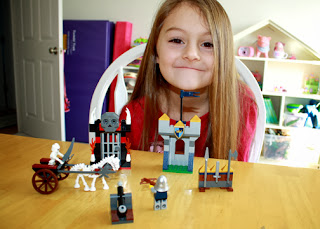 Tessa's completed models for the first chapter of Lego Castle Brickmaster. There were too many models to build during the two days we worked on this during school time, but the rest will give Tessa several more hours of building fun on her own time.