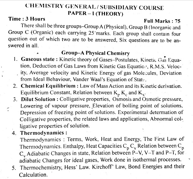 B A  and B Sc  1,2, and 3 year syllabus for TMBU: CHEMISTRY