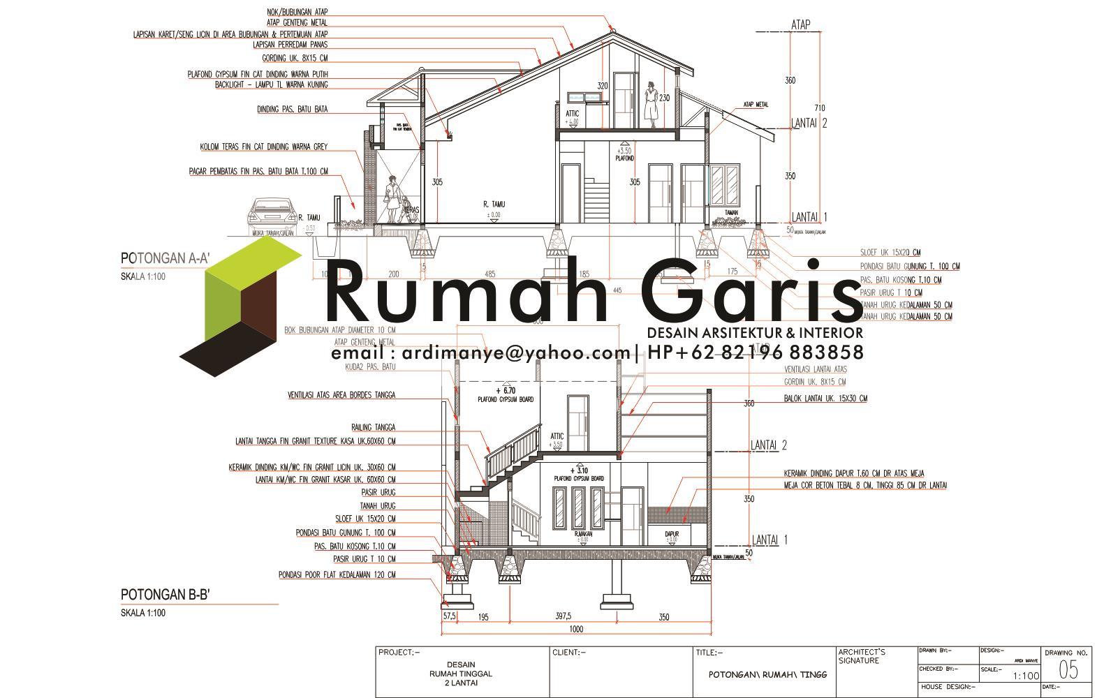 Jasa Gambar Rumah 2 Dimensi - Rumah Garis