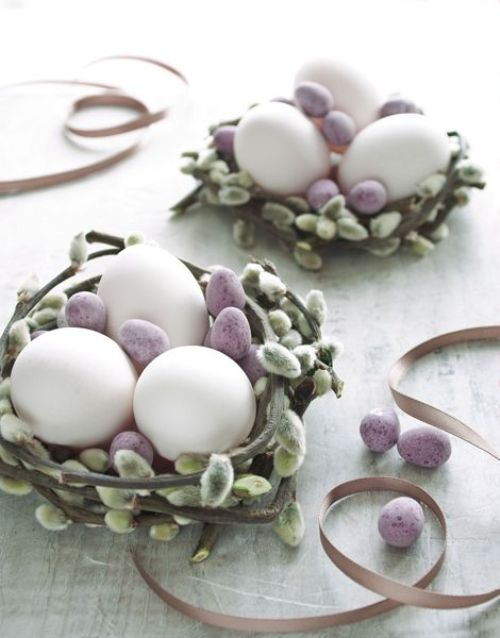 pastel Easter decoration with pussy willow basket and eggs