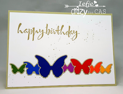 Handmade greeting card with colourful butterflies