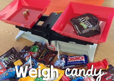 Use a balance scale to weigh leftover Halloween candy!