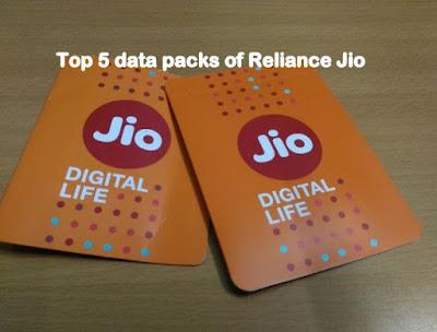 Top 5 data packs of Reliance Jio