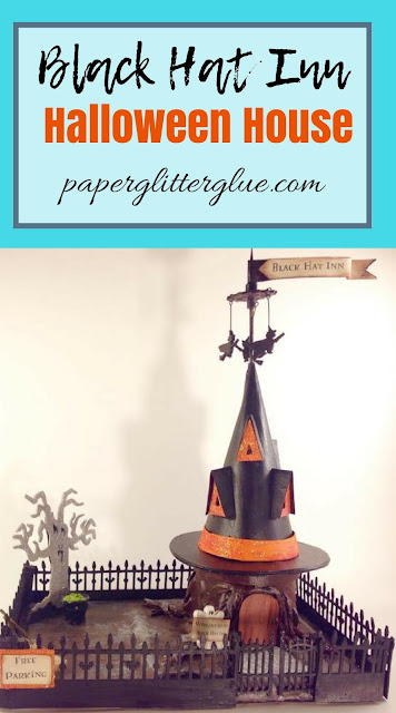 How to make the Black Hat inn Halloween house #halloweenhouse #putzhouse #littlecardboardhouse #halloweenvillage