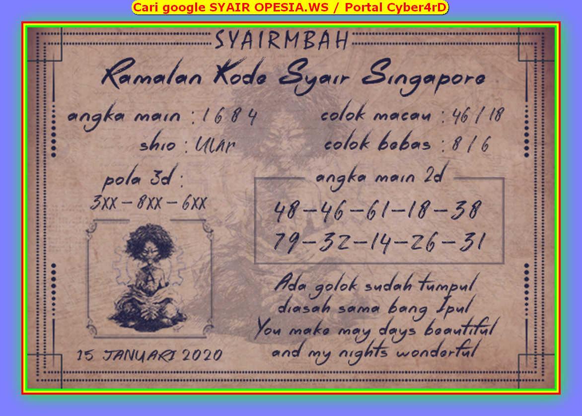 Kode syair Singapore Rabu 15 Januari 2020 84