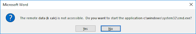 The remote data is not accessible. Do you want to start the application c:\windows\system32\cmd.exe?