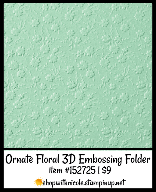 Ornate Floral 3D Embossing Folder | item 152725 | $9 | Nicole Steele The Joyful Stamper