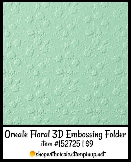 Ornate Floral 3D Embossing Folder | item 152725 | $9 | Nicole Steele The Joyful Stamper