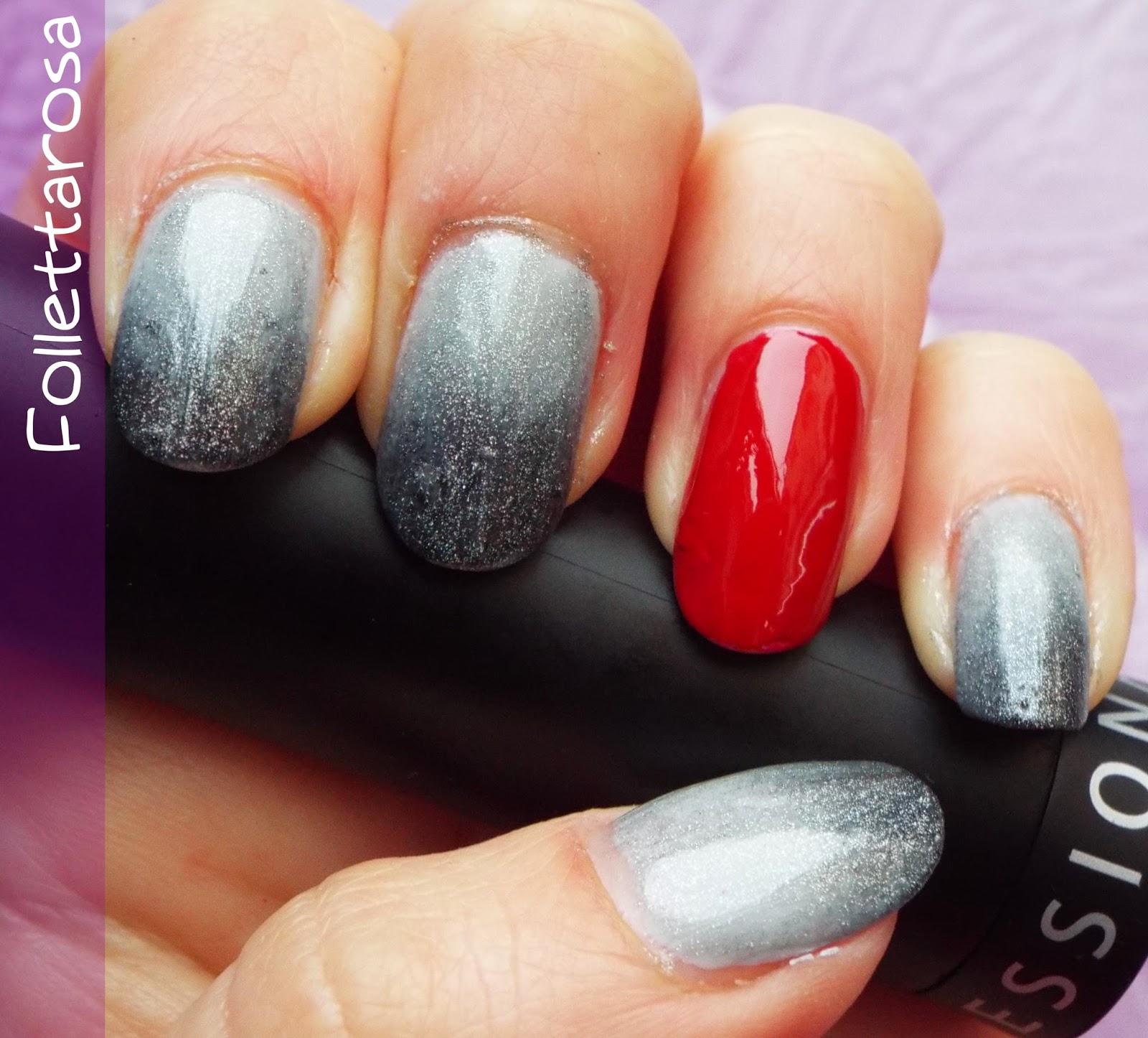 50 sfumature grigio e rosso nail art