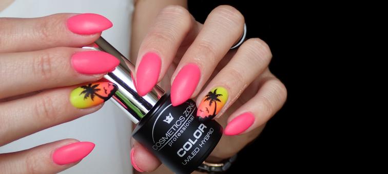 Sey | Cosmetics Zone | Neon 2 Neon Light Pink | s081 Black Night | F.O.X pigment 008 | Sey Extreme Base | Cosmetics Zone Top Mat | wakacyjne paznokcie | palmy na paznokciach | paznokcie hybrydowe | neonowe paznokcie | ombre na paznokciach | neonowy gradient |