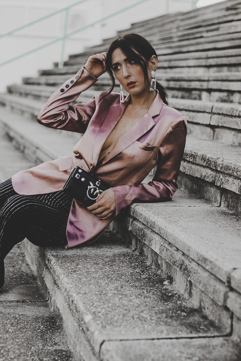 blazer rosa - looks para navidad