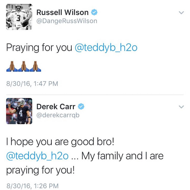 Twitter russell wilson @DangeRussWilson Praying for you @teddyb_h2o.