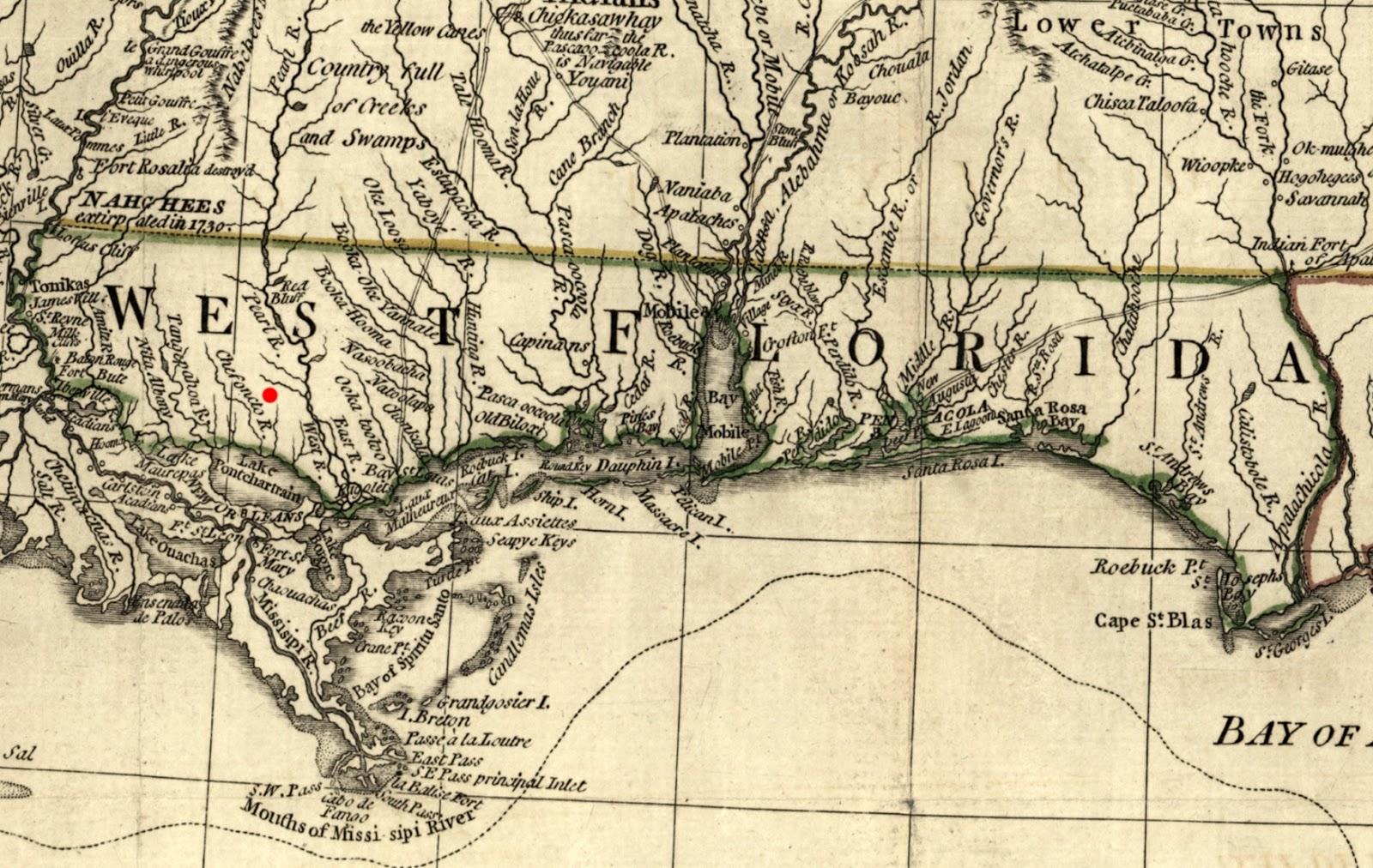 west florida in 1776 red dot locates covington