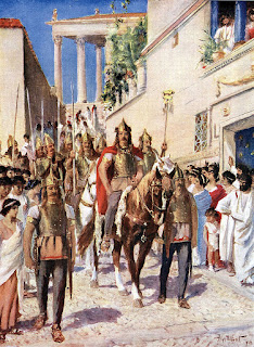 A book illustration showing Alaric in Athens after conquering the city in 395