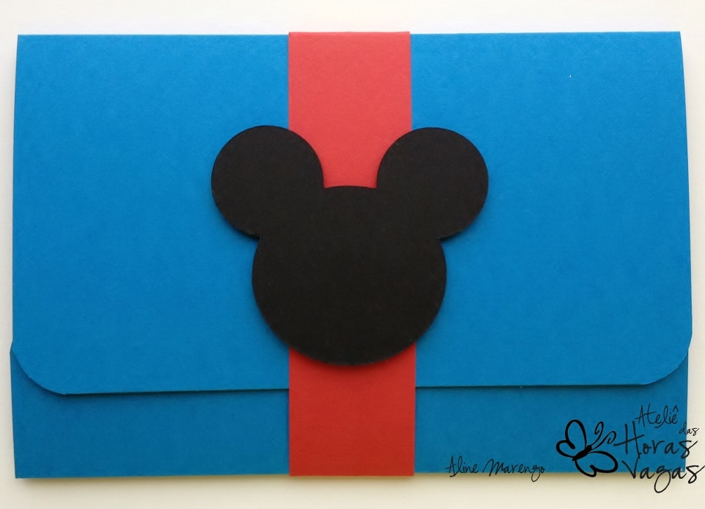 convite artesanal aniversário infantil casa do mickey turma do mickey disney menino azul colorido