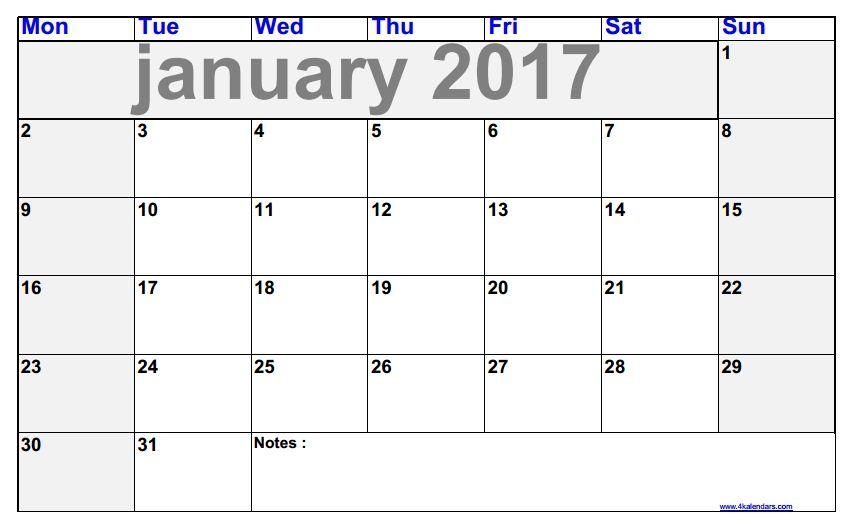 Kalendar January 2017 Blank To Print Calendars 2018 Kalendar 2018
