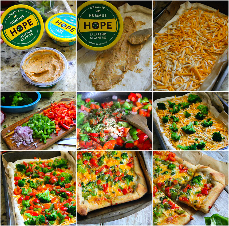 Vegetable Hummus Pizza Recipe - for more recipes, visit Sandra's Easy Cooking ( http://www.sandraseasycooking.com/ )