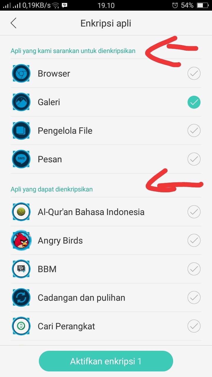 cara mengunci enkripsi aplikasi oppo