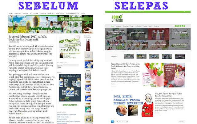 Make Over Blog Jomvitamin.Com Sebelum dan Selepas
