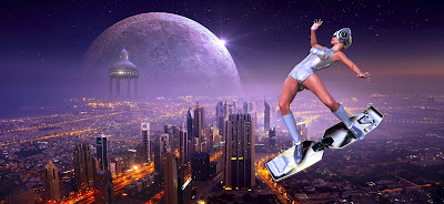 A young woman is riding a hoverboard above a futuristic city.