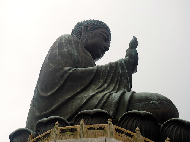 Close up side view of the Big Buddha/ Tian Tan Buddha statue, Ngong Ping, Lantau Island, Hong Kong