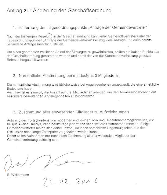 Antrag des SPD-Abgeordneten Wollermann