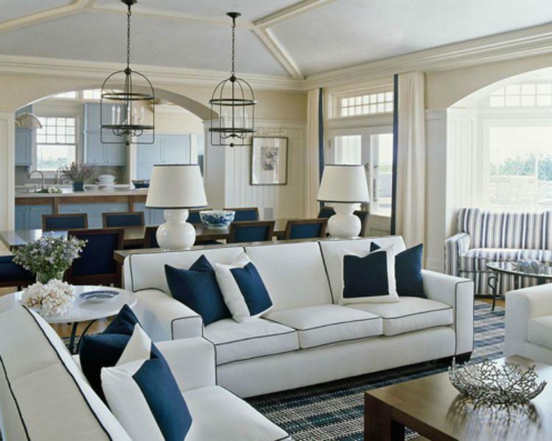 Navy and white coastal living room and dining room