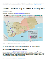 Map of territorial control in Yemen as of January 31, 2016, including territory held by the Houthi rebels and former president Saleh's forces, president-in-exile Hadi and his allies in the Saudi-led coalition and Southern Movement, Al Qaeda in the Arabian Peninsula (AQAP), and the so-called Islamic State (ISIS/ISIL). Includes recent areas of fighting, such as Aden, the Bab al-Mandeb Strait, Dhubab, Hanish Island, Harad, Maydee, Mukallah, and more.
