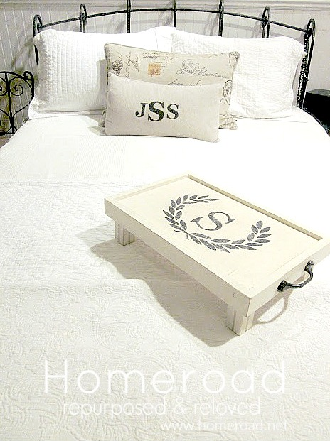 White distressed diy bed tray on the bed