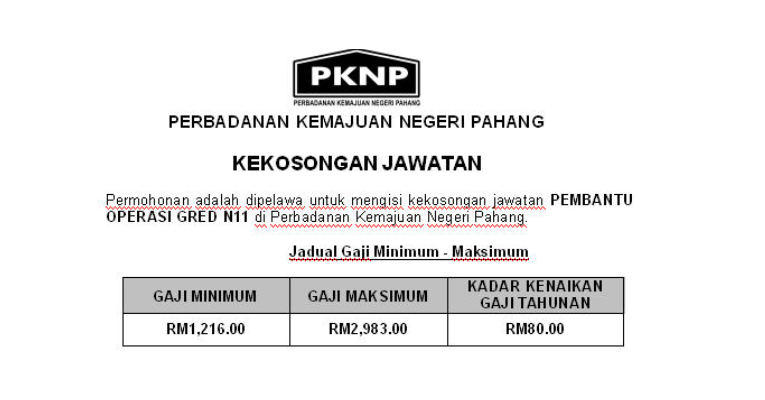 Jawatan Kosong Pembantu Operasi di Perbadanan Kemajuan Negeri Pahang PKNP