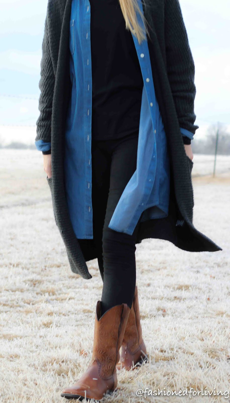 leggings and cowboy boots outfit with shirt dress and sweater cardigan