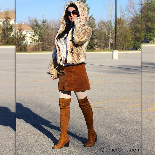 street style, faux fur coat, winter fashion, thigh high boots, labelshoes, animal print