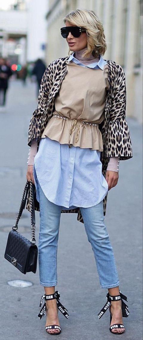 gorgeous outfit idea / jeans + bag + shirt dress + leopard cardigan + heels