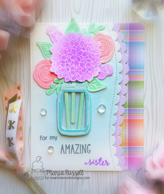 For My Amazing Sister Card by Maria Russell | Lovely Blooms Stamp Set by Newton's Nook Designs #newtonsnook