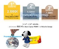 Con Penny Logo Card vinci buoni spesa da 500 e fino a 2.000 euro + peluche Snoopy